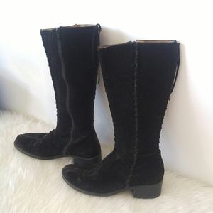 Vintage Black Suede Semi Square-Toe Tall Boots